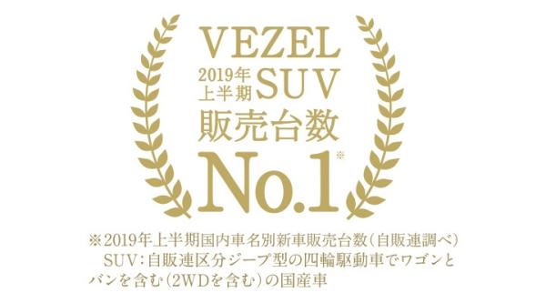 「VEZEL」が2019年上半期 SUV新車販売台数 第1位を獲得