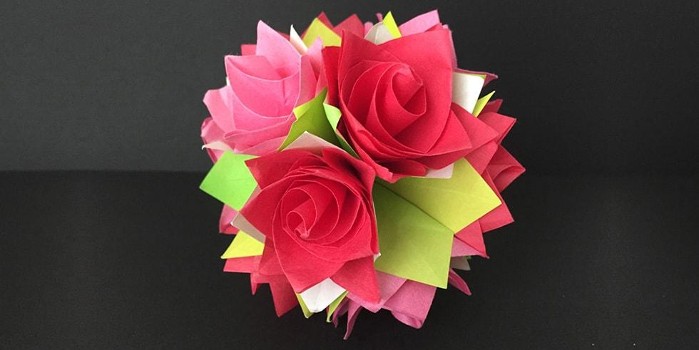 折り紙 くす玉 バラ