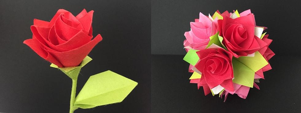 美しい バラ 折り紙